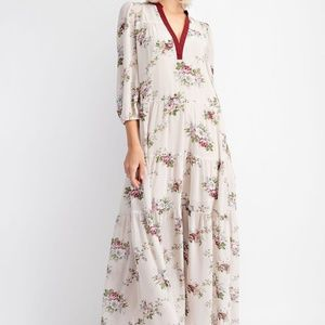 Ivory Floral Print Tiered Ruffle 3/4 Sleeve Maxi